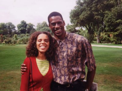 Actresss Fily K and CB on the set of Family Matters, Paris 1996