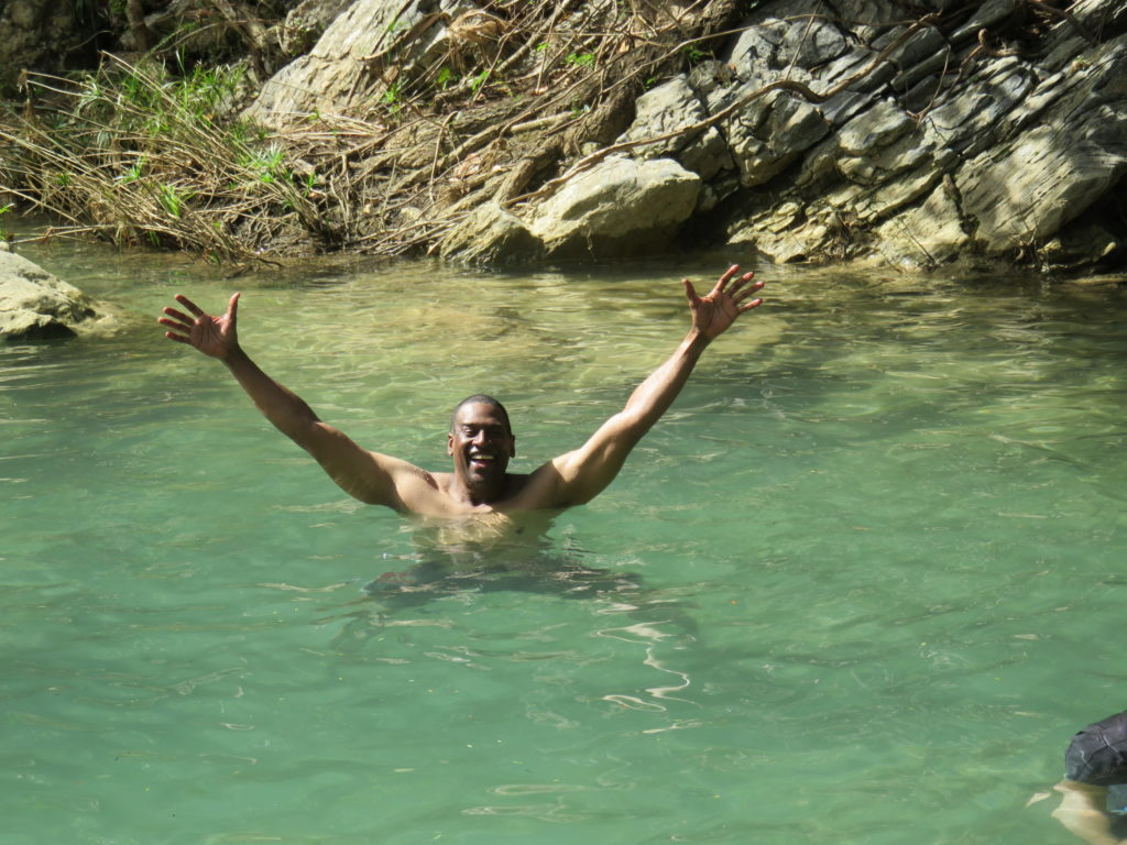Swimming in the caves in cuba