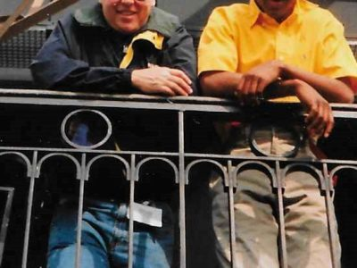 family matters creator David Duclon and jaleel white atop the Eiffel Tower during a break filming Family Matters