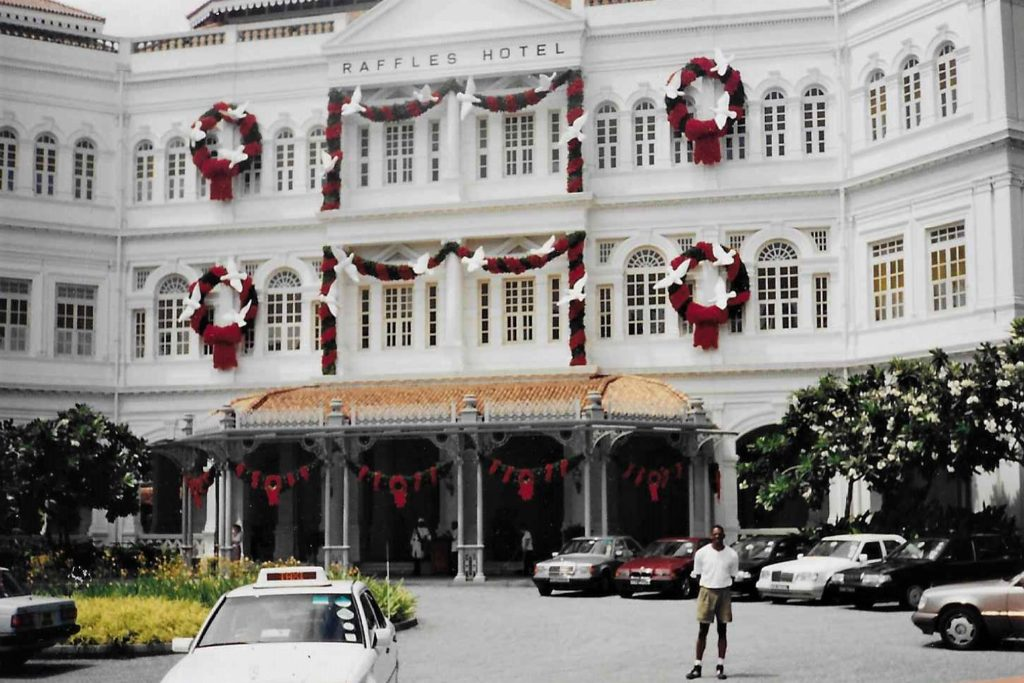 In front of the Raffles hotel in Singapore 1997