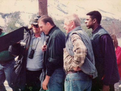 mick jackson (dir) kevin costner ralph waite and me on the set of the Bodyguard fallen leaf lake Ca