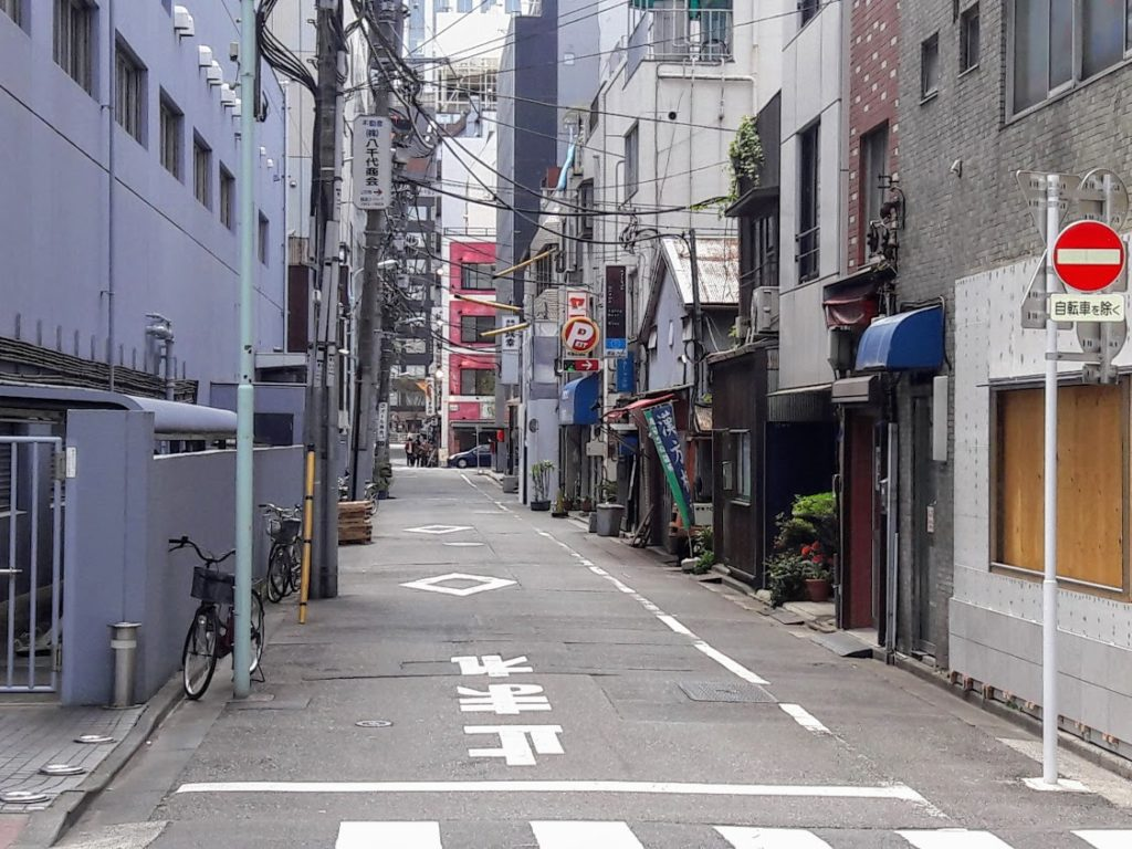 my airbnb street in nishi-shinjuku