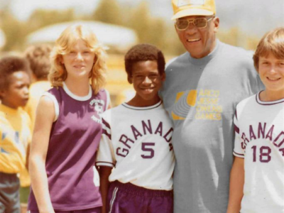 Jill h me Steve h and JESSE OWENS at ... e Owens track meet, I think 1977