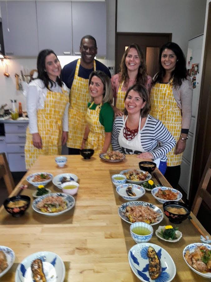 Mayukos little kitchen cooking class 5 Brazilian girls and me